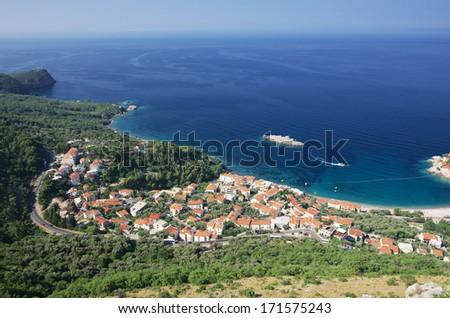 high view beautiful coast nearby Sveti Stefan island, Montenegro - stock photo