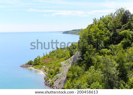 High view from the top of Scarborough Bluffs in Toronto - stock photo