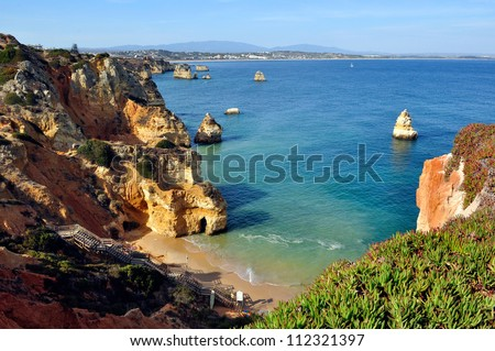 High view of Camilo Beach in Lagos, Algarve, Portugal - stock photo