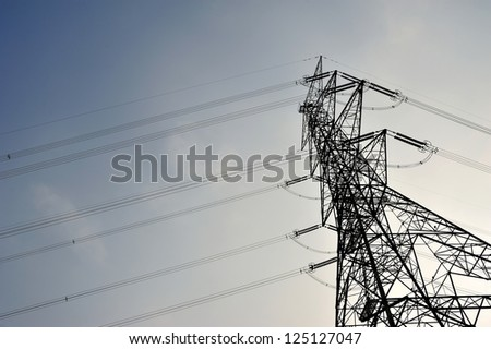 High Vol power tower line. - stock photo
