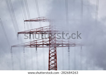 HIgh voltage cable tower - stock photo