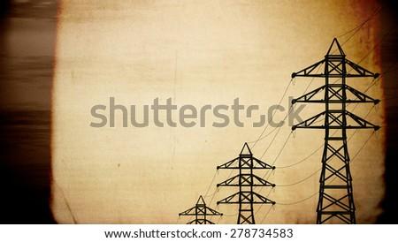 High Voltage Electric Poles in the Sunset Sunrise 3D artwork illustration vintage design - stock photo