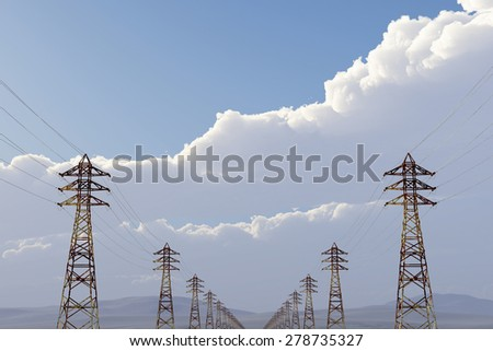 High Voltage Electric Poles under Blue Cloudy Sky 3D artwork - stock photo