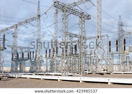 High voltage electric power substation in autumn day - stock photo