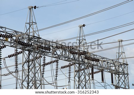 High voltage electric power substation with sky background - stock photo