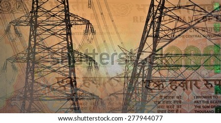 High voltage electric tower or pylon with high power lines on  1000 Rupee India Currency or money note, double exposure shot with money and technology - stock photo