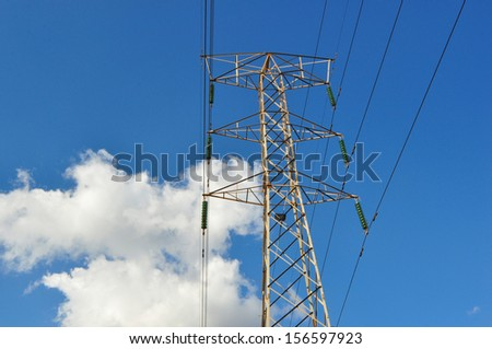 High Voltage Electrical Post Against the Sky and Clouds  - stock photo