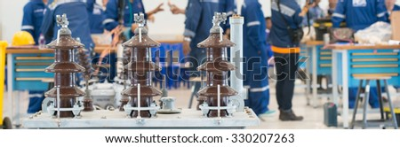 High Voltage insulator and transformer workshop - stock photo