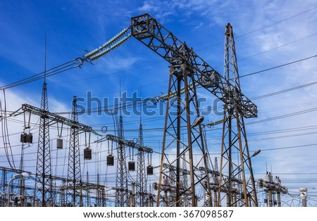 High-voltage line with electric pylons . eletric  - stock photo