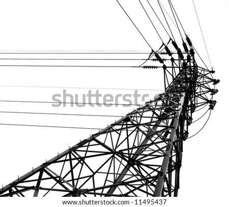 High Voltage Mast -- monochrome image of a high voltage pylon - stock photo