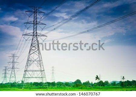 High voltage poles, in Thailand. - stock photo