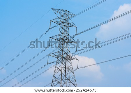 high voltage post.High-voltage tower - stock photo