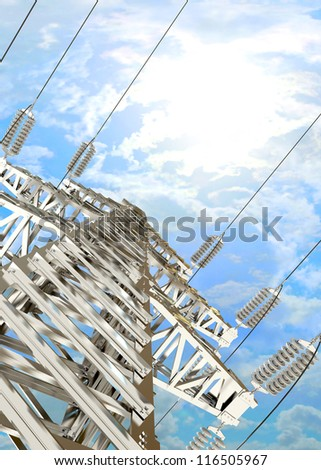 High voltage post. High-voltage tower sky background. 3d render - stock photo