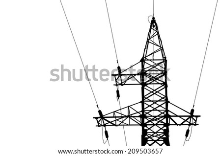 High voltage power lines and pylon. Isolated on white. - stock photo