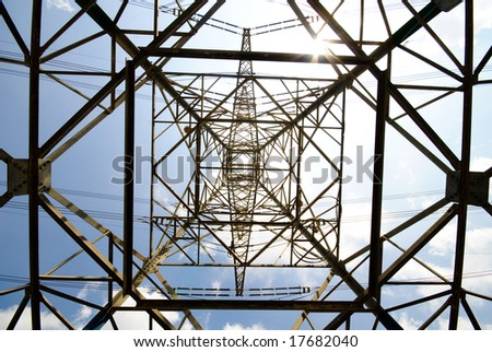 High voltage power pylon - stock photo