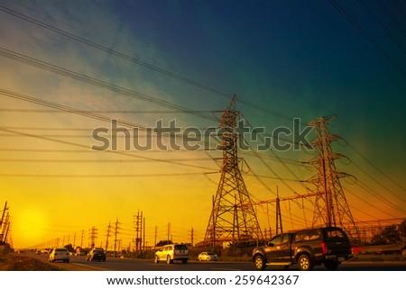 High Voltage Power Pylon - stock photo