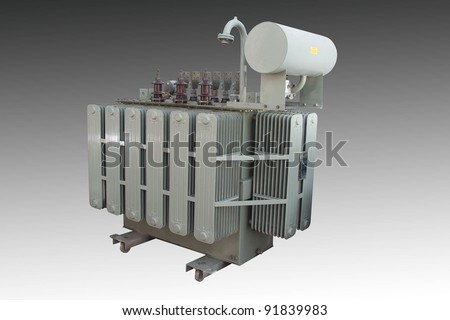 High voltage power transformer isolated - stock photo