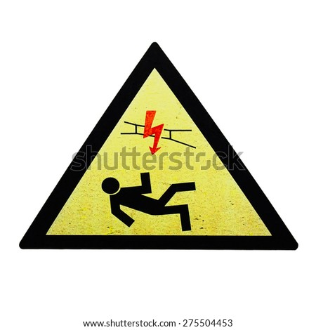 High voltage sing on white background - stock photo
