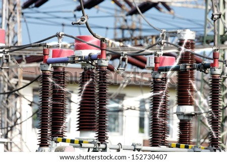 high-voltage substation with switches - stock photo