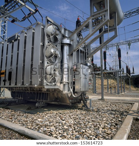 High-voltage supply transformer.  - stock photo