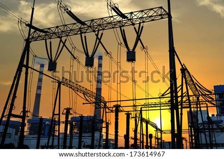High voltage switchgear equipment - stock photo