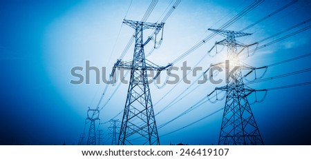 High Voltage Tower, blue toned images. - stock photo