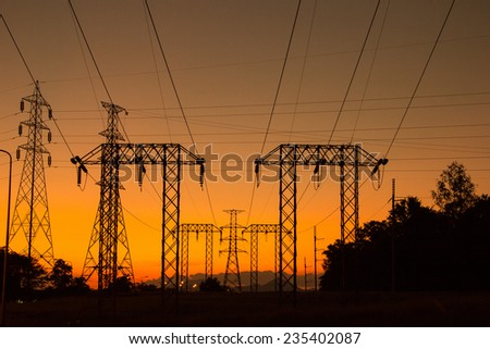 High voltage tower for send to city power to use - stock photo
