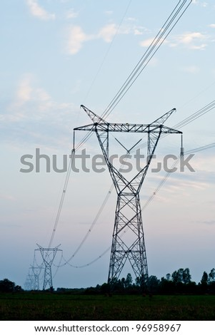 High voltage towers - stock photo