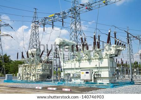 High voltage transformer - stock photo