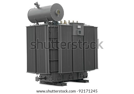 high-voltage transformer on a white background - stock photo