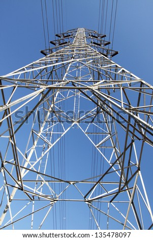 High Voltage Transmission Line Tower - stock photo