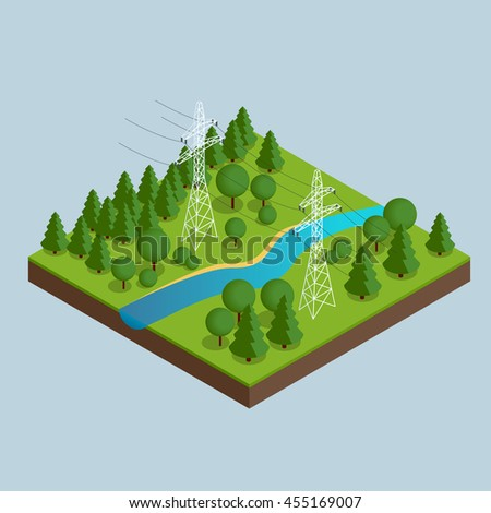 High voltage transmission lines and power pylons. High voltage towers. Electricity pylons. Vector illustration of industrial landscape. Flat 3d isometric illustration. - stock photo