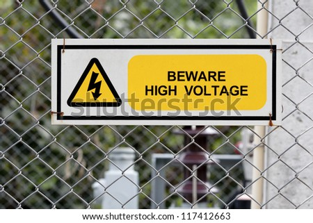 high voltage warning sign - stock photo