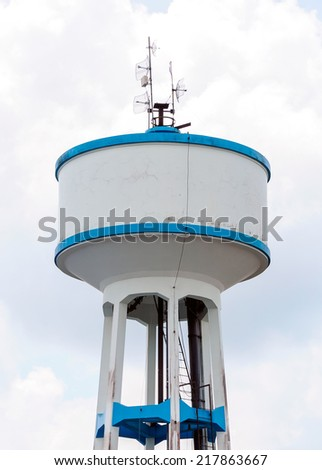 High water tank of urban waterworks in Thailand. - stock photo