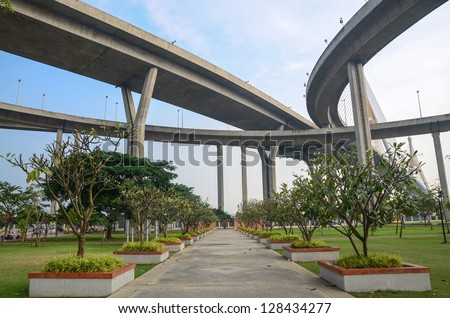 High way over park - stock photo