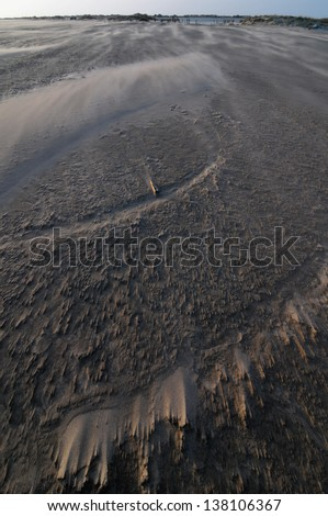 High Wind effects over the sand in a desert - stock photo