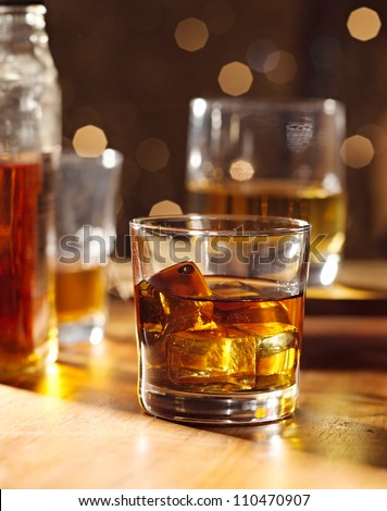 Highball whiskey glass at bar - stock photo