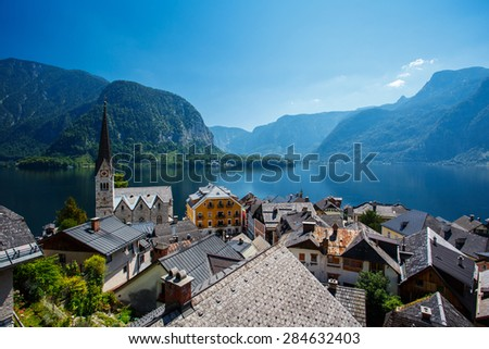 Higher point of view of Hallstatt City, Austria in Summer - stock photo