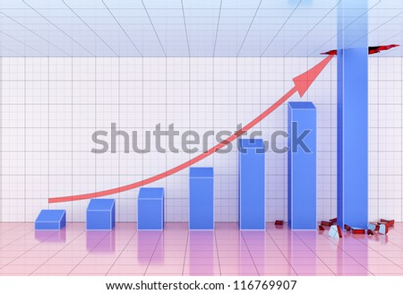 highest bar breaking the upper limit. - stock photo