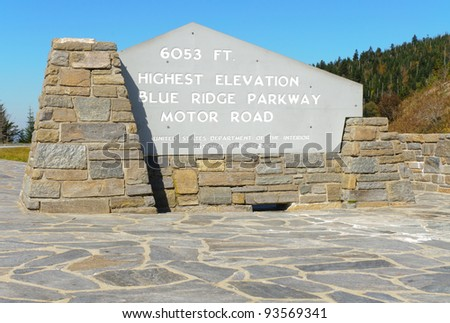 Highest Elevation on the Blue Ridge Parkway sign - stock photo