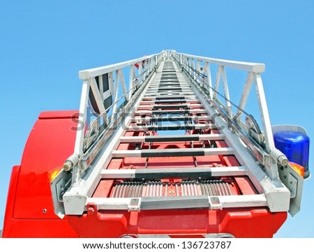 highest platform of a fire truck during a practice session in the Firehouse - stock photo