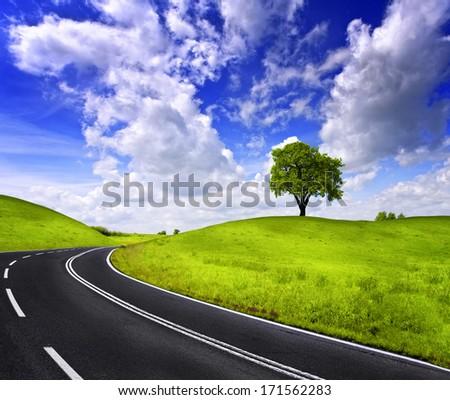 Highland road - stock photo