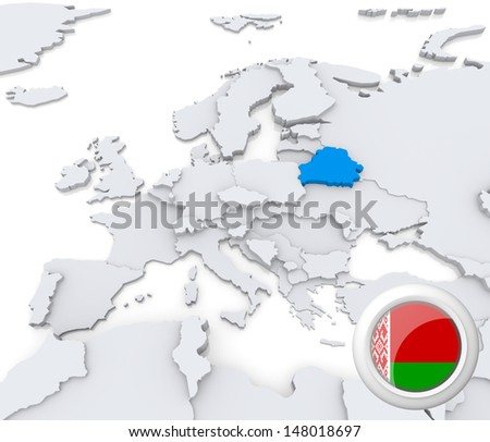 Highlighted Belarus on map of europe with national flag - stock photo