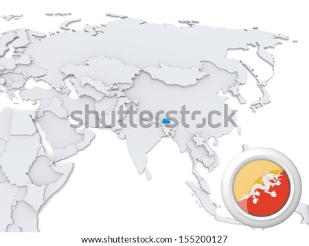 Highlighted Bhutan on map of Asia with national flag - stock photo