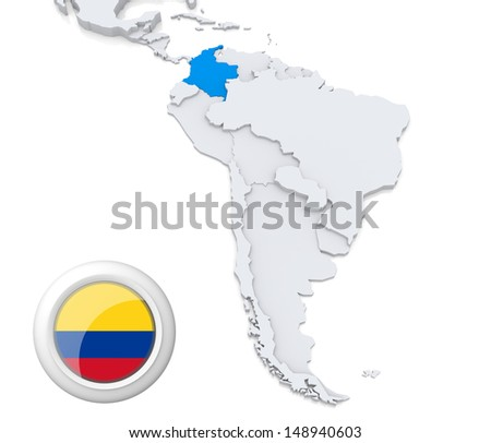 Highlighted Colombia on map of south america with national flag - stock photo