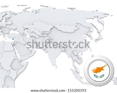 Highlighted Cyprus on map of Asia with national flag - stock photo