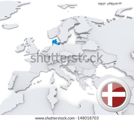Highlighted Denmark on map of europe with national flag - stock photo
