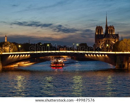Highlighted from boat houses on Seine, Paris, France - stock photo