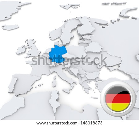 Highlighted Germany on map of europe with national flag - stock photo