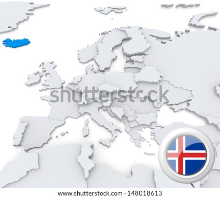 Highlighted Iceland on map of europe with national flag - stock photo